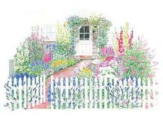 Cottage Garden Layout Plan..too bad holly hocks don't do well here