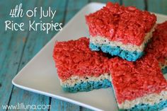 Fourth of July Rice Krispie Treats    - 6 cups Rice Krispies Cereal    - 1 package marshmallows    - 3 TB margarine or butter    - Food coloring (red and blue – I like Betty Crocker Gel Food Colors)    DIRECTIONS:      1. Gather your supplies and divide the rice krispies and marshmallows in three for the three layers.        2. I like to microwav