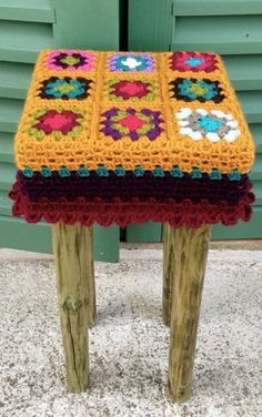 Items similar to handmade small recycled wood stool or coffee table & granny crochet cover on Etsy Wood Stool, Recycled Wood, Amigurumi Patterns, Elsa, Recycling, Blanket, Vintage, Unique Jewelry, Handmade Gifts