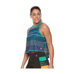 Women's FILA Sport® Printed Performance Crop Tank, Size: Medium, Oxford