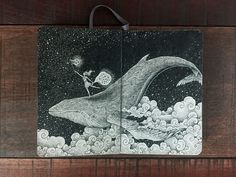 On a Whale Catching Stars. Detailed Moleskine Doodles with many Whales. By Kerby Rosanes.
