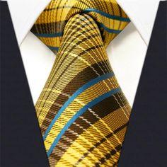 Yellow / Brown Plaid Necktie