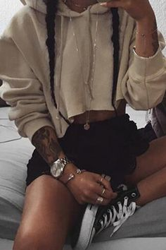 Khaki Casual Cropped Hoodie With Hood More