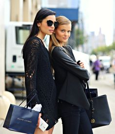 Irina Sharipova and Kate Grigorieva after Ralph Lauren,New York, September 2014