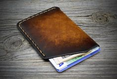 MINIMAL Leather Card Holder. Ultra thin cards case. Genuine Italian Leather. One pocket card wallet. Leather pocket credit card case.