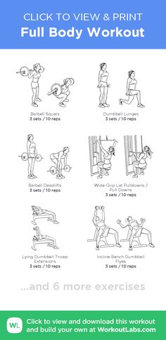 Full Body Workout –click to view and print this illustrated exercise plan created with #WorkoutLabsFit