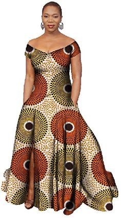 Women's Stylish African Print Dress Split Off Shoulder Mermaid Formal Prom color16 1X at Amazon Women's Clothing store: