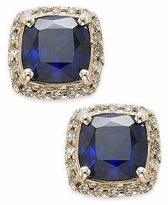 Velvet Bleu by EFFY 14k Rose Gold Diffused Sapphire (2-1/4 ct. t.w.) and Diamond (1/6 ct. t.w.) Square Earrings