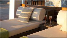 pihenő ágyak a teraszon, mediterrán hangulat - Luxuslakások, házak