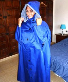 Long blue rubberlined cape