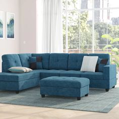 Ebern Designs Mauzy Left Hand Facing Left Facing Sectional with Ottoman Upholstery: Blue Jeans Color Sectional Ottoman, Reclining Sectional, Modern Sectional, Chaise Sofa, Fabric Ottoman, Lounge, Fine Furniture, Furniture Upholstery, Furniture Decor
