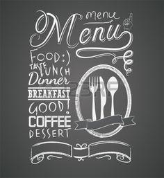 Illustratie van een vintage grafisch element voor menu op bord Stockfoto