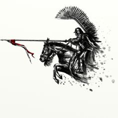 ArtStation - Husarz na koniu / Hussar on horseback, Michał Matuszak Polish Tattoos, Be Brave Tattoo, Warrior Tattoos, Ange Demon, Harry Potter Tattoos, Tattoo Drawings, Tattoo Inspiration, Character Art, Viking Character