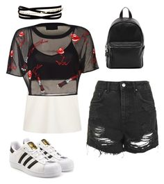"""Untitled #219"" by rekac on Polyvore featuring The Row, Topshop, adidas Originals, French Connection and Kenneth Jay Lane"