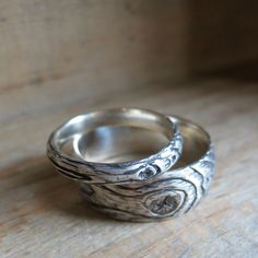 wood grain ring PLYWOOD sterling silver SET faux bois