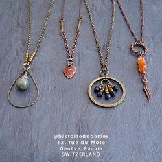 Necklaces / Colliers #workinprogress gems #histoiredeperles #handmadewithlove #cdwi Costume Jewelry, Jewelry Accessories, Gold Necklace, Gems, Necklaces, Instagram, Handmade, Bead, Jewelry Findings