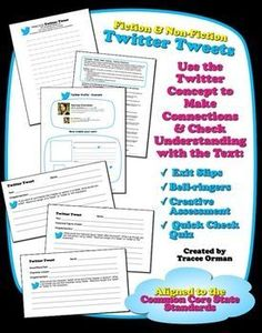 FREE! Common Core Twitter Summaries and Profiles for fiction & nonfiction Teaching Reading, Teaching Tools, Teacher Resources, Teacher Tips, Teaching Ideas, Learning, Common Core Activities, Fun Classroom Activities, Classroom Ideas