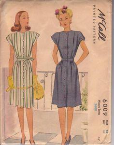 McCalls 6009, ( c.1945).  Size 16 (bust 34, waist 28).  Pattern to make a front button, cap sleeved dress. | eBay
