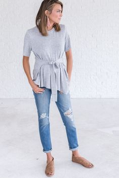 boutique top with tie at waist