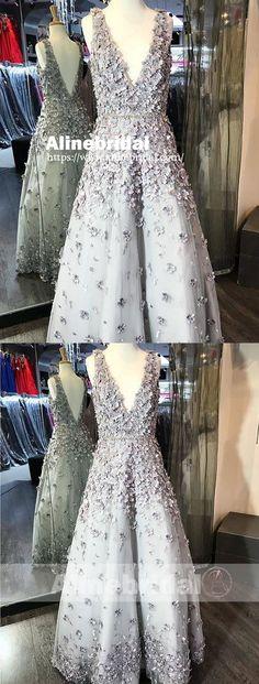 Light Grey Handmade Flowers V-neck V-back With Beaded Sash Prom Dresses,PD00068