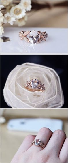 Pink Morganite Ring 7x9mm Solid 14K Rose Gold Oval Morganite Engagement Ring Wedding Ring / http://www.deerpearlflowers.com/engagement-rings-from-etsy/2/