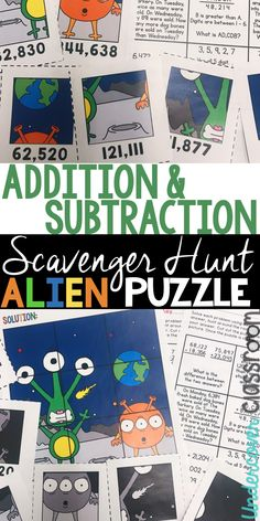 Challenging addition and subtraction problems for fourth or fifth grade. Students solve multi-step addition and subtraction problems and then find puzzle pieces to make a silly alien picture. Great for enrichment. Subtraction Activities, Enrichment Activities, Fifth Grade, Third Grade, Teaching Tips, Teaching Math, Alien Pictures, Adding And Subtracting, Center Ideas