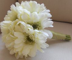 White Gerber Daisy Bouquet with Light Green Ribbon by MoxiBouquet, $55.00