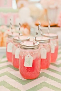 Pink lemonade, mason jars and mint chevron table runners!