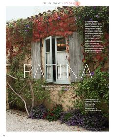 Virginia creeper vines; Penelope Bianchi, on stucco house with tile roof. Amazing Windows.
