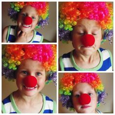 Greatfun4kids: Carnival Party Prep and Printables - Rainbow Clown Wig (found at dollar store)