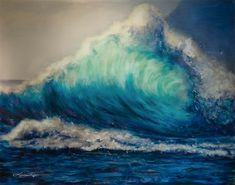 Painting by Lindsay Rapp No Wave, Water Waves, Ocean Waves, Lindsay Rapp, Portugal, Glossy Paint, Texture Painting, Paint Texture, Thing 1