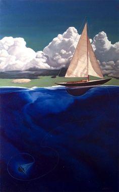 illustration, nick hermes, painting, sailboat, sink