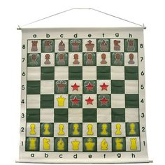 """36"""" Wall hanging Chess Demo Board with Clear Pieces and Bag"""