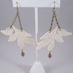Ivory Lace Earrings #lace #earrings