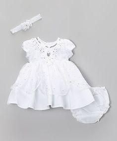 White Sequin Pick-Up Dress - Infant #zulily #zulilyfinds