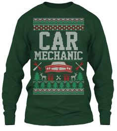 Car Mechanic Ugly Christmas Long Sleeve Forest Green Long Sleeve T-Shirt Front
