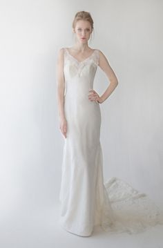 ASHLYNNE  Chantilly lace fit-to-flare gown with plunging back
