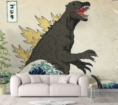 Japanese Monster Boys Room Wallpaper - Canvas Wall Decal / 1 roll: 24W x 120H
