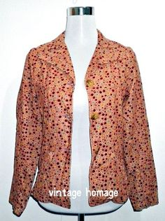 salmon coral pink polka dots jacket by VintageHomage on Etsy, $20.00
