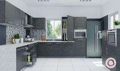 12 Gorgeous Grey Kitchens For Indian Homes L Shaped Kitchen Designs, Grey Kitchen Designs, Contemporary Kitchen Design, Interior Design Kitchen, Modern Kitchen Cabinets, Kitchen Cabinet Colors, Kitchen Layout, Kitchen Decor, Kitchen Ideas
