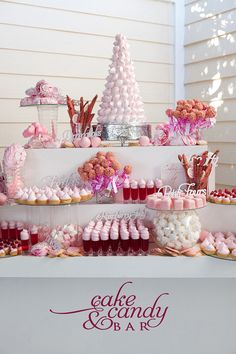 Cake and candy bar!  Pretty in Pink.  Odd for me to like this since I am not a pink person...but who could resist!