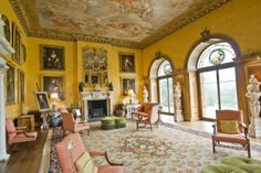 Briefly used as an interior room of Downton in seasons one and two although it is not at Highclere. The Yellow Saloon/Drawing Room is at West Wycombe Park, Buckinghamshire, UK. I paricularly love the windows which open up to passthru down to the man-made lake in the shape of a swan.