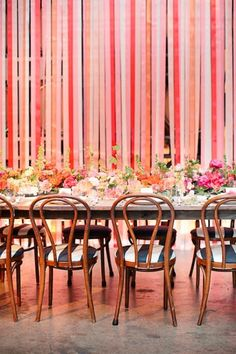 Reception Backdrop- Lots of ribbons- Coral, Pink, Peach- Live Love Breathe Weddings