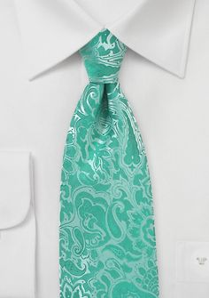 $5 - Bright Paisley Necktie in Pool Blue