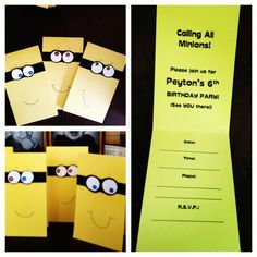 For Peyton's Minion invitations, I basically just made smaller versions of the Minion party favor bags with party info inside. I think they turned out well.