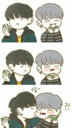 Yoonmin and eat mochi...cute~