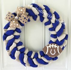Indianapolis Colts burlap wreath - Indianapolis Colts wreath - Colts wreath - Indianapolis Colts - Colts - blue and white burlap
