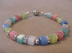 Pastel CATS EYE CUBE Bracelet with Crystal Rondelles Pastel Bracelet by Magicclosetbling on Etsy