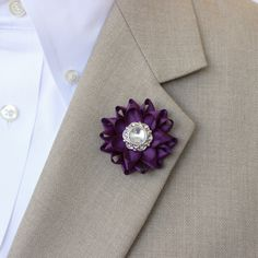 Mens Lapel Flower Pin Custom Lapel Pin Purple Boutonniere Purple Lapel Flower for Men Mens Lapel Pin Mens Fashion Accessories Custom