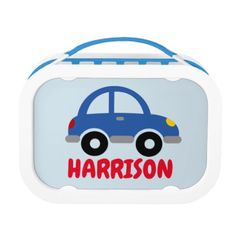 Personalized boy's lunch box with cute toy car - kitchen gifts diy ideas decor special unique individual customized
